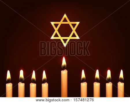 Nine Candles and Star of David on a dark background - sketch illustration for Hanukkah Chanukah. Greeting card for traditional jewish holiday.
