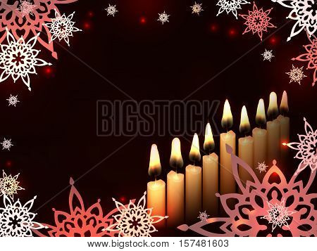 Nine Candles on a dark background - sketch illustration for Hanukkah Chanukah. Greeting card for traditional jewish holiday.