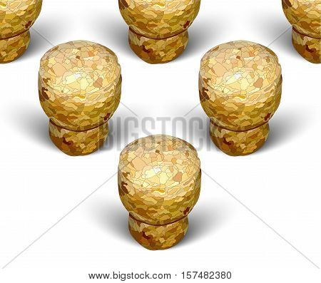champagne cork triangle formation white background macro