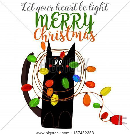 Merry Christmas And Happy New Year Card With Cute Black Cat- Stock Vector
