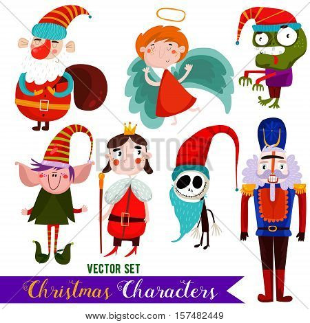 Christmas Vector Characters-santa, Angel, Zombie,elf, King, Jack And Nutcracker.design Elements Set