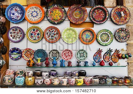Eastern town street shopping for hand made ceramics.