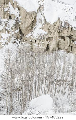 Capadocia Under Snow In Turkey