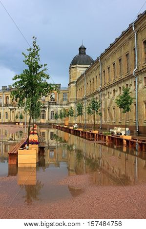 Gatchina Russia - 12 July 2016: Great Gatchina Palace was built in 1766-1781 in Gatchina town (near St. Petersburg) by Antonio Rinaldi for Count Grigori Orlov who was a favourite of Catherine II.
