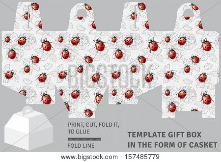 Template holiday cardboard gift box in the form of casket with floral background and ladybirds