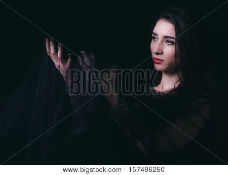 Female Portrait On Dark Background