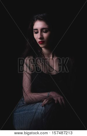 Beauty Portrait On Dark Background