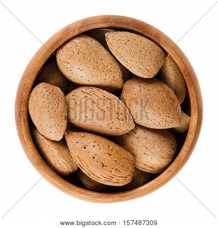Almonds in shell in a wooden bowl on white background. The raw edible almond seeds are no nuts.Botanically they are drupes. Isolated, macro food photo close up from above.