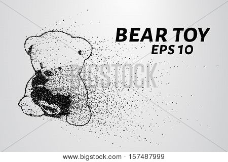 A toy bear from the particles. The toy consists of dots and circles. Vector illustration.
