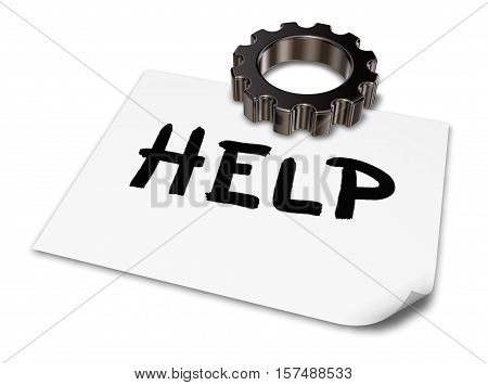 the word help on paper sheet and gear wheel - 3d rendering