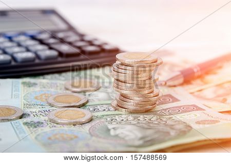 Stack Of Polish Money Business Composition