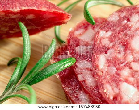 Macro View Of The Sausage With Rosemary