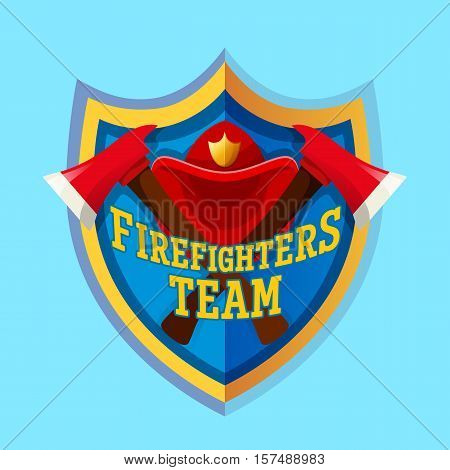 Firefighters team - Firefighter emblem label badge and logo isolated on blue background.
