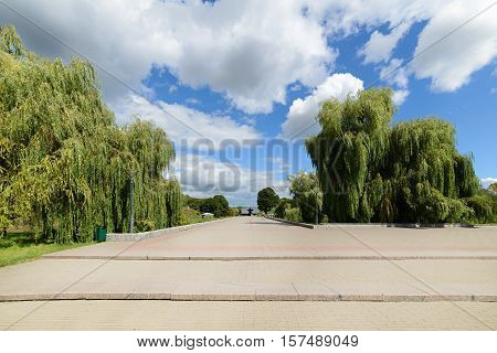 BREST, BELARUS - AUGUST 30, 2016:The central alley of the memorial complex. of the memorial complex Brest Fortress. Brest Fortress the first to receive the blow during the attack of the German troops on the Soviet Union