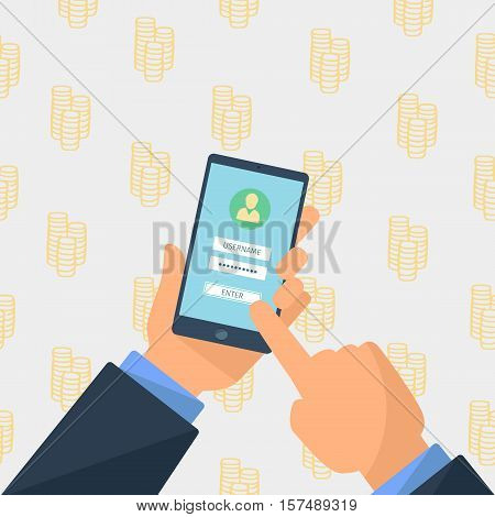 hands holding tablet with sign in screen, flat design illustration