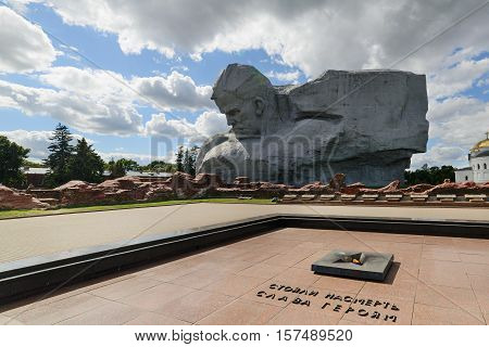 BREST, BELARUS - AUGUST 30, 2016: The central square of the memorial complex Brest Fortress. Brest Fortress the first to receive the blow during the attack of the German troops on the Soviet Union