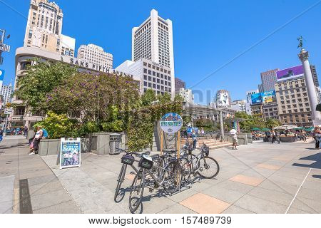 San Francisco, California, United States - August 17, 2016: bike rentals in Union Square, popular landmark of San Francisco in Market Street, known as the place shopping and luxury hotels.