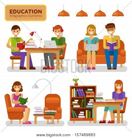 Flat design infographics elements of education, reading and knowledge. Vector illustration with girls and boys reading book and studying, interiors, book, notebook, bookcase, lamp.
