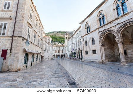 Stradun street at old part of the city early in the morning. Dubrovnic, Croatia. Fortification.