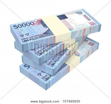 Indonesian rupiah money isolated on white background. 3D illustration.