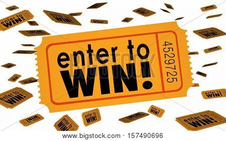 Enter to Win Contest Raffle Lottery Ticket Words Lucky 3d Illustration