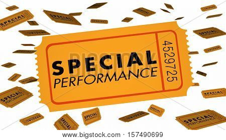 Special Performance Concert Theatre Play Recital Ticket 3d Illustration