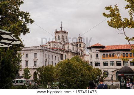 SANTANDER SPAIN - AUGUST 19: View of the Cathedral Basilica of the Assumption of the Virgin Mary of Santander on August 19 2016