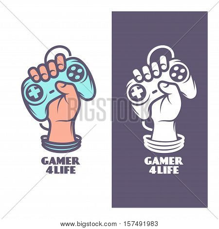 Gamer for life t-shirt design. Oldschool videogames related poster. Hand with joystick. Vector vintage illustration. poster