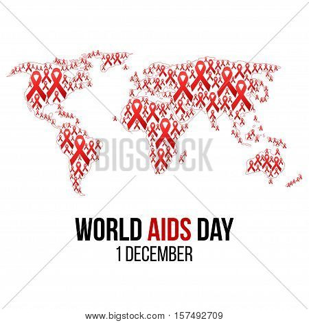 Vector illustration of hiv, aids awareness background isolated on white. World Aids Day concept. 1 December. Red ribbons on the map of world emblem.