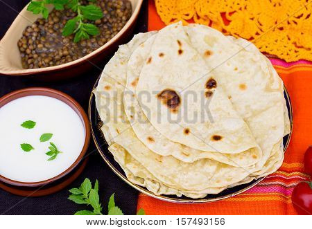 Homemade Indian unleavened flatbread chapati or roti