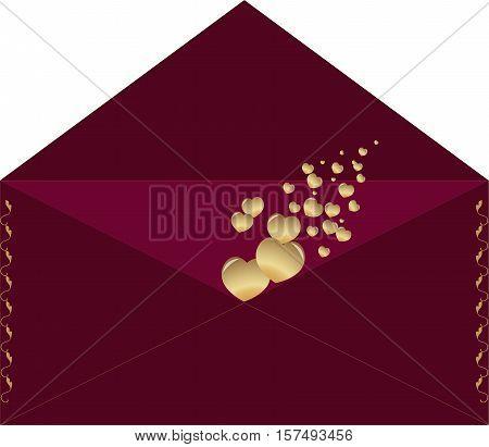 envelope, hearts, letter, letter, maroon, gold, valentines day