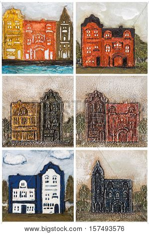 Set of images of homes executed in the style of volumetric painting isolated on white background