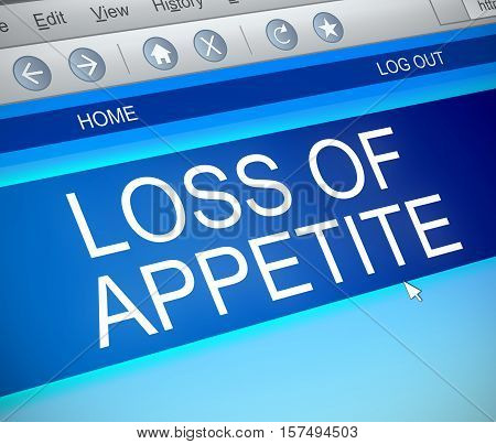Illustration depicting a computer screen capture with a loss of appetite concept.