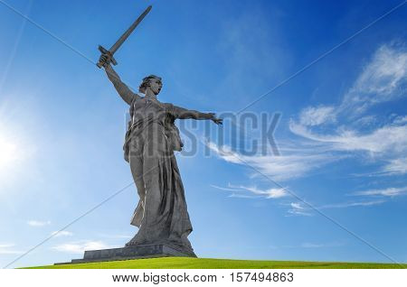 Sculpture Motherland Calls on Mamayev Kurgan in Volgograd
