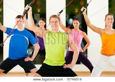 Group of five people exercising with flexi bar to strengthen the intrinsic muscles in gym or fitness club poster