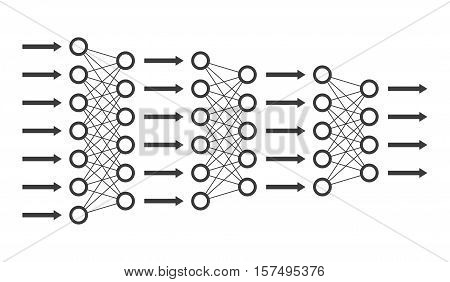 Neural net. Neuron network. Data engineering. Deep learning. Cognitive technology concept. Vector illustration