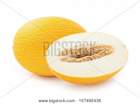 Melon. Ripe melon with half isolated on white background