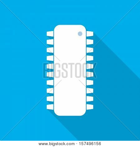 White chip icon in flat design. Simple microchip with long shadow on blue background. Microcircuit flat sign. Vector illustration.