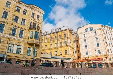 SAINT PETERSBURG RUSSIA - OCTOBER 3 2016. Saint Petersburg architecture city landscape -embankment of Moika river and old historic buildings of Saint Petersburg Russia
