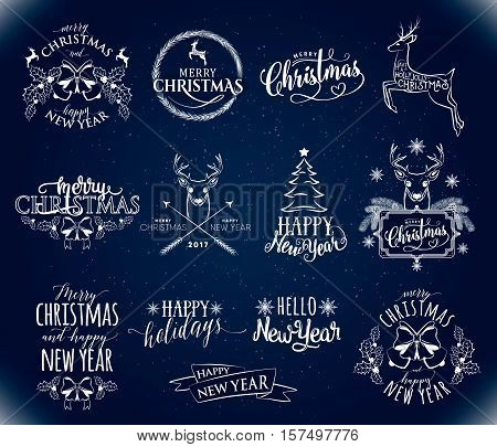 Vector illustration of Merry Christmas and Happy New Year stamp, sticker set with holly, berry, bow, deer, fir tree, lettering typography inscription. Old winter xmas, new year emblem in retro style