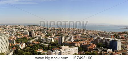 LISBON, PORTUGAL - September 30, 2016: Panoramic view towards the old city and the Tagus River from the newest Amoreiras Lookout Point in Lisbon Portugal