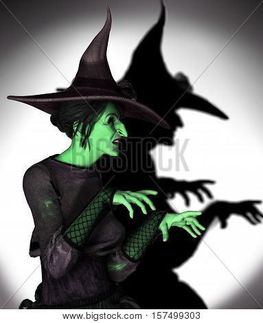 3D illustration of a green witch working magic.