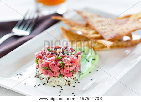 A plated dish of Ahi Tuna Tartar
