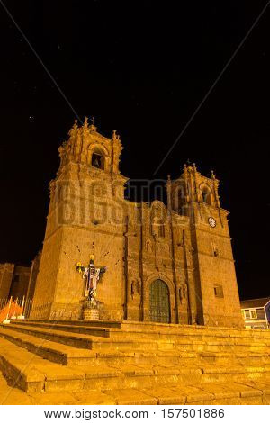 Night view of Puno Cathedral, Basilica Menor