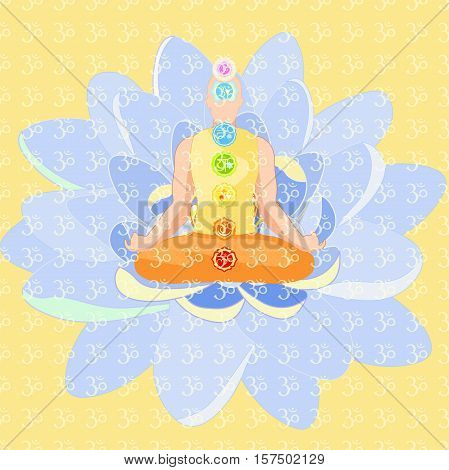 man sitting in lotus position meditating with chakra. vector illustration
