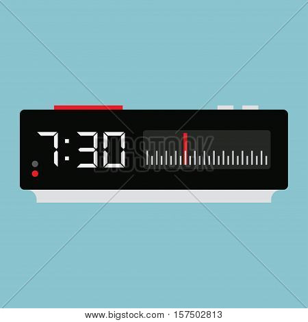 Clock Radio electronic watch alarm clock isolated on white background vector Illustration