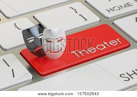 Theatre concept. Tragicomic theater masks on red keyboard button 3D rendering