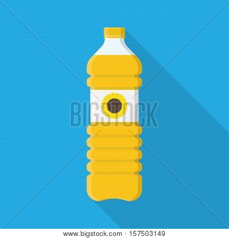 Bottle of vegetable oil. Cartoon vector cooking oil. Food fat bottle. Cooking oil bottle.