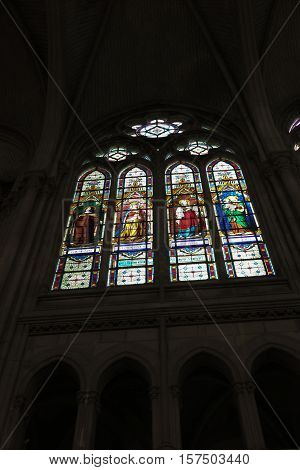 Saint-Laurent-sur-Sevre France - September 10 2016: Stained glass window of the Chapel Of The Convent Of The Daughters Of Wisdom in Saint-Laurent-sur-Sevre in the department of Vendee in France.