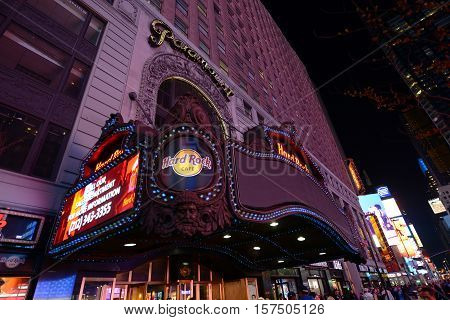 NEW YORK CITY - MAY 6, 2013: Paramount Theatre is a famous movie palace located at Broadway in Times Square, Manhattan in New York City, USA.